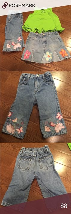 Girls Bundle This is a little girls bundle of a pair of Faded Glory jeans with butterfly applications, a Faded Glory jean skirt with flower applications and a Palettes green ruffled shirt all in 3 T.  These are all in very good condition with no stains or wear. Faded Glory Bottoms Jeans