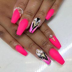 Pink Matt coffin nails