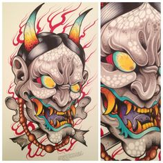 Popular Tattoos and Their Meanings Japanese Demon Tattoo, Japanese Sleeve Tattoos, Hanya Tattoo, Hannya Mask Tattoo, Oni Mask, Asian Artwork, Tattoo Sketches, Tattoo Drawings, Tattoo Ideas