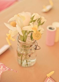 table decorations - flowers in mason jar
