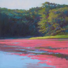 Cranberry Bog Pastel - Strip Of Lime by Ed Chesnovitch