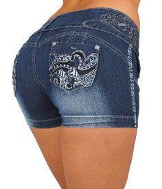 Silver Diva Style DJ1338_SH Colombian style Super Sexy Stretch Butt lifting Push-Up (Levanta Cola) Short Shorts $26.99