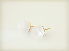 Vu - crystal clear, gold plated earrings