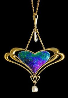 Archibald Knox, Liberty & Co Pendant, circa 1900. Gold, enamel, and pearl. Pendant is 2.4 inches long and 1.8 inches wide.