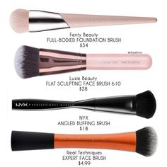 We found a few alternatives to @fentybeauty FULL-BODIED FOUNDATION BRUSH ($34) which is a dense brush to get that seamless finish! You can get a very similar brush for $6 less expensive with @luxiebeauty FLAT SCULPTING FACE BRUSH 610 ($28)! If you're looking for something even more affordable, @nyxcosmetics ANGLED BUFFING BRUSH ($18) is one option available online/ @ultabeauty / #nyxcosmetics retail stores OR @realtechniques EXPERT FACE BRUSH ($4.99) which is available at your local drugstore! Best Drugstore Dupes, Skincare Dupes, Beauty Dupes, Drugstore Makeup, Beauty Makeup, Beauty Hacks, Makeup Brush Dupes, It Cosmetics Brushes, Nyx Cosmetics