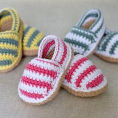 CROCHET PATTERN Stripy Espadrille Baby Shoes in 3 sizes Baby Espadrille Shoes crochet pattern instant download