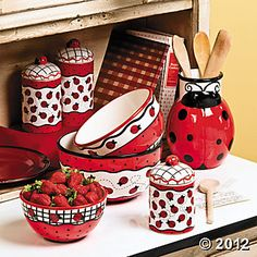 Decorate your kitchen with these adorable ladybug bowls, canisters and a utensil holder!