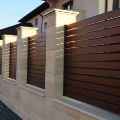 House Main Gates Design, House Fence Design, Exterior Wall Design, Front Yard Garden Design, Modern Fence Design, Garden Fence Panels, Front Gate Design, Door Gate Design, Village House Design