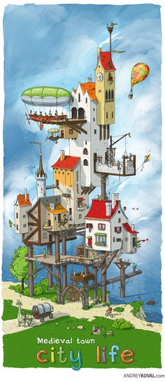City life. Medieval town by Andrey Koval, via Behance