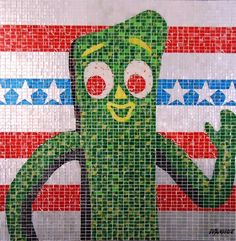 """Green America,"" an AluMosaics creation made out of tiles hand-cut from soda cans, by Jeff Ivanhoe."