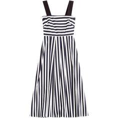 Tara Jarmon Striped Midi Dress (405 CAD) ❤ liked on Polyvore featuring dresses, gown, stripes, white dress, pleated midi dress, midi dress, white midi dress and stripe dress