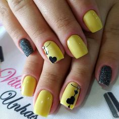 HEART - 50 Best Valentine& Day Nail Art Don't go breaking my heart boys! Today we have 50 of the very Best Valentine's Day Nail Art! Yellow Nails Design, Yellow Nail Art, Red Nail Art, Pink Nails, Cute Nails, Pretty Nails, Nail Art Designs, Nail Effects, Heart Nails