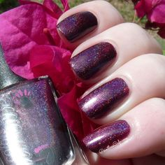 Mercy by Pointless Cafe - Deep eggplant intense linear holo #colorsbyllarowe #cbl #llarowe #mercy #holographic #nail #polish