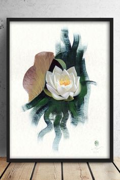 Botanical print water lily, fine art giclée print, sustainable art from original painted with cruelty-free materials Botanical Drawings, Botanical Prints, Botanical Illustration, Illustration Art, Plant Painting, Oil Painting Flowers, Nature Prints, Art Prints, Realistic Oil Painting