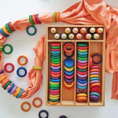 20 Things to do with Grapat Nins, Rings & Coins Loose Parts — Oskar's Wooden Ark Fine Motor Activities For Kids, Toddler Activities, Games For Kids, Toddler Teacher, Toddler Fun, Funky Fingers, Rainbow Blocks, Montessori Playroom, Calming Activities