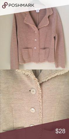 Talbots Merino Wool Fringe Jacket Lightweight Tan Jacket Talbots Jackets & Coats Blazers