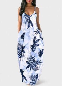 Floral Summer Maxi Dress V Back Spaghetti Strap Leaf Print Pocket Dress Cheap Blue Dresses, Tight Dresses, Sexy Dresses, Casual Dresses, Summer Dresses, Summer Maxi, Spring Summer, Party Summer, Style Summer