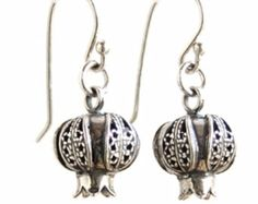 Delicate Filigree earrings sterling silver 925 pomegranates