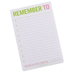 Jumbo Sticky Notes - Remember To