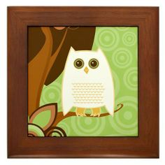 """Snowy Owl - Framed Tile by CafePress by CafePress. $15.00. Frame measures 6"""" X 6"""" x 0.5"""" with 4.25"""" X 4.25"""" tile. Rounded edges. 100% satisfaction guarantee return policy. Two holes for wall mounting. Quality construction frame constructed of stained Cherrywood. Snowy Owl Gifts and Stationery - each product is available in 3 different colors... great gift ideas for bird lovers and owl collectors."""
