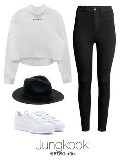 """""""BTS Jap. Ver. Inspired: Jungkook"""" by btsoutfits ❤ liked on Polyvore featuring H&M and adidas"""