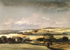 'The Downs' by Rowland Hilder (watercolour on paper) Watercolor Landscape, Watercolor And Ink, Landscape Art, Landscape Paintings, Watercolor Painting Techniques, Watercolour Painting, Watercolours, Painting Abstract, Acrylic Paintings