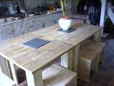 table de jardin en palettes !