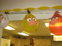 Angry birds balloons made with the printable faces