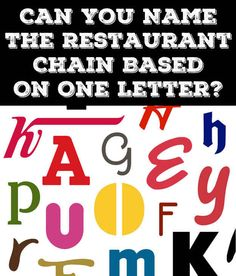 Can You Name The Restaurant Chain Based On One Letter  I got 23 out of 30 right!