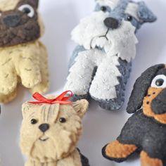 Cute plush Dogs sewing pdf pattern set Three pug dachshund