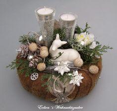 """Adventskranz Weihnachtskranz """"weißes Reh"""" von Deko-Idee Eolion auf DaWanda.com"""