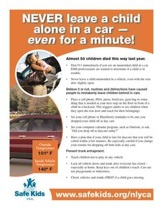 Heatstroke Prevention > Never Leave Your Child Alone on a car - even for a minute!