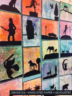 artisan des arts: Hand dyed paper with silhouettes - grade 5/6