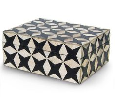 Limited Production Design Rectangular Black White Capiz Shell Box Only Few Remaining