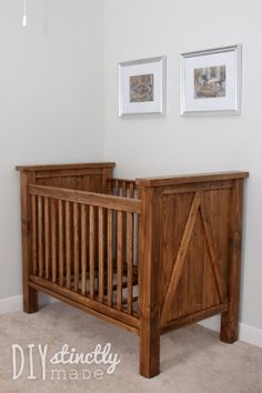 Ana White Build a DIY Farmhouse Crib Featuring DIYstinctly Made Free and Easy DIY Project and Furniture Plans Baby Crib Diy, Baby Nursery Diy, Themed Nursery, Nursery Crib, Nursery Decor, Nursery Ideas, Nursery Dresser, Babies Nursery, Nursery Rugs