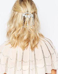 Peineta con diseño drapeado de cristal de Love Rocks