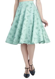 Outta This World Skirt - A-line, Mint, Novelty Print, Daytime Party, Pinup, Vintage Inspired, Quirky, Fit & Flare, Casual, Summer