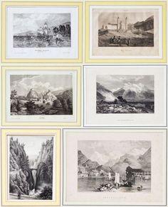 6 Stahlstiche 1. H. 19. Jh. Schweiz Interlaken Grindelwald Graubünden Einsiedeln