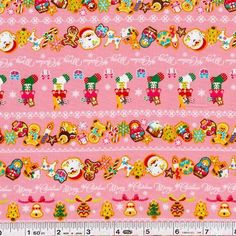 Looking just like yummy holiday sugar cookies, adorable Christmas figures are printed across this festive fabric. The stockings are filled, and smiles are on everyone's faces! This quilting weight Japanese fabric is 100% cotton and is 43/44