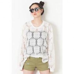 $7.31 Sunflower Print Scoop Neck Long Sleeves Casual Style Polyester Blouse For Women