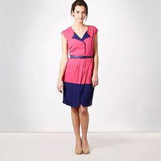 Preen for Debenhams pink asymmetric colour block dress £52 in sale