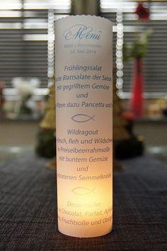 ♥ Lichthülle Kommunion Tischdeko Menü von Designisch auf DaWanda.com Det kan i selv printe :-)