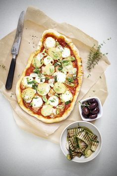 Easy, grab whatever, no recipe pizza!  (I sustitute flat breads from Trader Joe's or Whole Foods for the pizza dough, even faster & easier and just as good!)