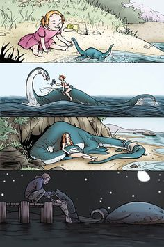 a little girl and her sea monster. so lovely and sweet! by Tallychyck on Deviant Art