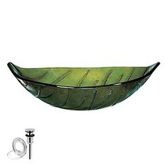 Particular Leaf Tempered Glass Finish Vessel Sink With Pop up and Mounting ring – USD $ 239.99