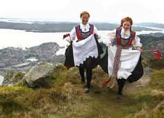 National indulgence -- Hurra for mai! Astrid and Hilde expressing joy and pride on our Constitution Day. Taken on Mount Ulriken by PI, while I have given it a few touches in Lightroom. Constitution Day, American History Lessons, Sweden Travel, Folk Costume, American Revolution, Bergen, India, Traditional Dresses, Norway