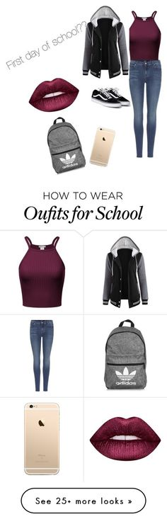 """First day of school"" by xyzbriana on Polyvore featuring 7 For All Mankind, adidas and Lime Crime"