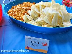 party food - under the sea - fish and chips (use vege chips).  Super cute, snack idea for the party.