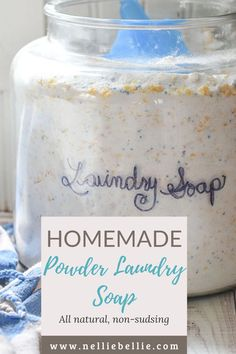 All natural, non-sudsing laundry soap that is quick to make in GIANT batches, smells amazing, and WORKS. Bright whites, good-smelling laundry, and inexpensive recipe. Best of all, you can customize the ingredients to your favorites! #Homemadesoup #Laundry #DIY #Powderlaundrysoap