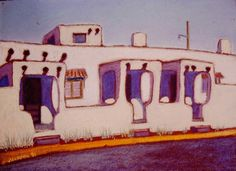"""""""Dunlap Street, Santa Fe"""" Pastel on paper, Sold  #PollyJackson is an artist from #Albuquerque, #NewMexico, USA, whose paintings I admire.  Would you love to own one of her #paintings that I have pinned? Contact her at: Email: artistpolly@gmail.com      Website:  http://www.pollyjackson.com   https://www.facebook.com/artistpolly  #DunlapStreet #SantaFe"""